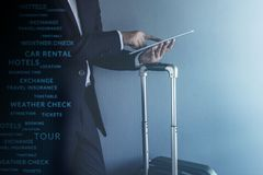 Travel Concept, Graphic about Travel Technology on Modern Busine Stock Images