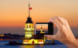 Travel concept. Hand making photo of city with camera. Istanbul. Turkey. Stock Images