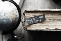 Travel concept. I want to travel the world  text. Royalty Free Stock Image