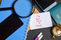 The Best Time to Travel written on paper. passport, magnifying glass, Compass, Smartphone royalty free stock photo