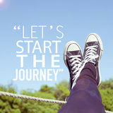 Travel concept inspirational quote background. Let's start the journey note inspirational travel adventure concept Stock Image