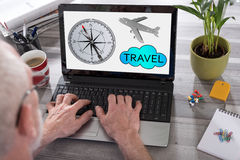 Travel concept on a laptop screen Royalty Free Stock Image