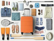 Travel concept with a large suitcase stock photo