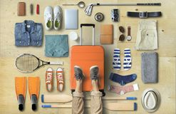 Travel concept with a large suitcase stock photos