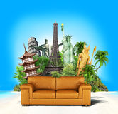Travel concept. Leather sofa and world-famous attractions on the sea and palm background. Wallpaper. 3d illustration Stock Photos