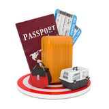 Travel Concept. Luggage with Passport and Air Tickets over Target Circle Plate. 3d Rendering. Travel Concept. Luggage with Passport and Air Tickets over Target stock illustration