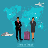 Travel concept, man and woman, baggage, luggage, apps, vector illustration  Royalty Free Stock Image