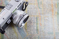 Travel Concept with Map and Camera Stock Images