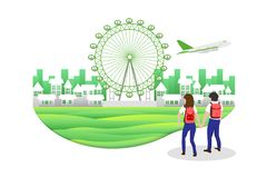 Travel concept, Men and women tourists who are walking in the England. Travel concept, Men and women tourists who are walking in the London England vector illustration