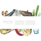 Travel Concept Mexico Landmark Watercolor Icons Design. Royalty Free Stock Photo