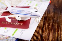 Travel concept with money, documents and map Royalty Free Stock Photo