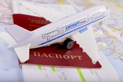 Travel concept with money, documents and map Royalty Free Stock Image