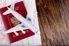 Travel concept with money, documents and map Stock Image
