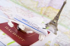 Travel concept with money, documents and map Royalty Free Stock Images
