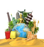 Travel concept. The most popular attractions of the world with bags and suitcases near globe located on the sand. 3d illustration Royalty Free Stock Photos