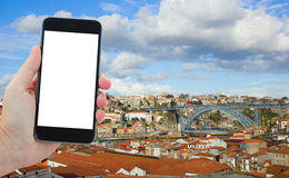 Travel concept with old town of Porto, Portugal Stock Image