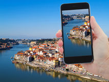 Travel concept with old town of Porto, Portugal Stock Images