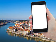 Travel concept with old town of Porto, Portugal Royalty Free Stock Image