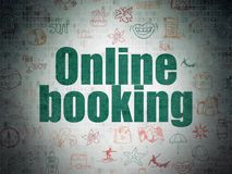 Travel concept: Online Booking on Digital Data Paper background Stock Photos