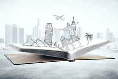 Travel concept. Open book with abstract drawing of landmarks and sights on city background. Travel concept. 3D Rendering Stock Photo