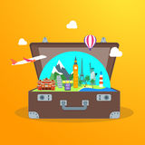 Travel Concept with Open Suitcase. Vector Stock Photo
