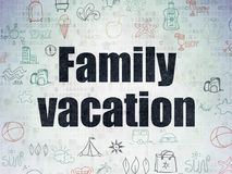 Travel concept: Family Vacation on Digital Data Paper background. Travel concept: Painted black text Family Vacation on Digital Data Paper background with   Hand Royalty Free Stock Images