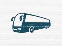 Travel concept: Bus on wall background Stock Photo