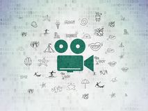 Travel concept: Camera on Digital Data Paper background. Travel concept: Painted green Camera icon on Digital Data Paper background with  Hand Drawn Vacation Royalty Free Stock Photography