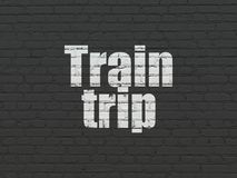 Travel concept: Train Trip on wall background Royalty Free Stock Photo