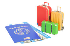 Travel concept. Passport, suitcases and tickets. 3D rendering. Isolated on white background Stock Photo