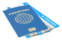Travel concept. Passport and tickets. 3D rendering. Isolated on white background Stock Photography
