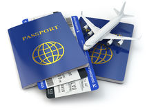 Travel concept. Passports, airline tickets and airplane. 3d Royalty Free Stock Photos