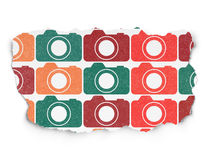 Travel concept: Photo Camera icons on Torn Paper Royalty Free Stock Photo