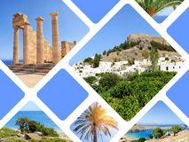 Travel concept with photos collage island Rhodos royalty free stock image