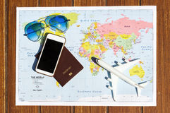 Travel concept with plan money passport glasses Royalty Free Stock Photos