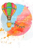 Travel Concept. Poster or Greeting Card Template. Balloon Flying Above Clouds. With Grunge Splaashes Vector Illustration