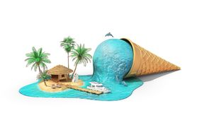 Travel concept. Relaxation island in the sea as melting ice cream. Isolation on a white. 3d illustration Royalty Free Stock Photo