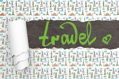 Travel concept ripped wallpaper Stock Images
