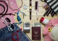 Travel concept, Set of clothes and  accessory for female travele Royalty Free Stock Photos