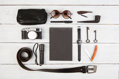 Travel concept - a set of cool men's accessories Stock Image