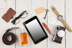 travel concept - set of cool stuff with camera and other things on wooden table Stock Photography