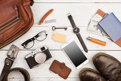 travel concept - set of cool stuff with camera and other things on wooden table Stock Photo