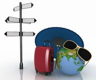 Travel concept. Signpost and suitcases on a globe background Stock Images