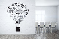 Travel concept. Simple white brick boardroom with creative sketch on wall. Travel concept. 3D Rendering Stock Photo