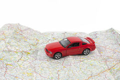 Travel concept, small car on map Stock Photo
