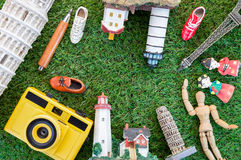 Travel concept with souvenirs around the world.jpg Stock Photography