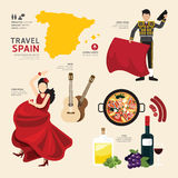 Travel Concept Spain Landmark Flat Icons Design .Vector . Stock Images