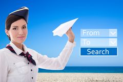 Travel concept - stewardess with paper plane and application for Royalty Free Stock Photos