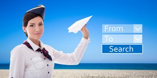Travel concept - stewardess with paper plane and application for Stock Photography