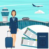 Travel concept with stewardess woman in blue uniform with suitcase, flight tickets, passport, airport building, airplane in the sk stock illustration